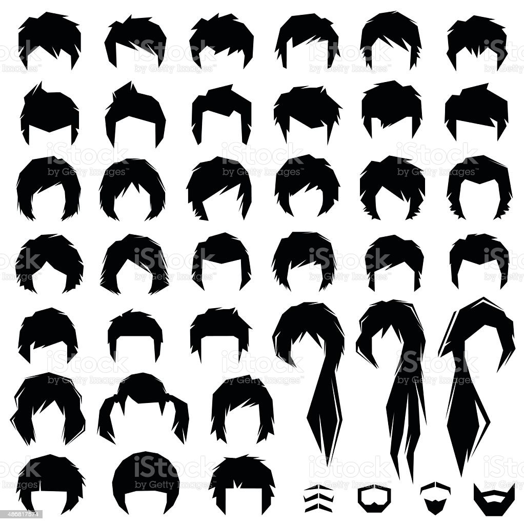 hair, vector hairstyle vector art illustration
