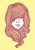Hand-drawn vector illustration of a beautiful girl featuring psychedelic hair. Global colour swatches are easy to change.