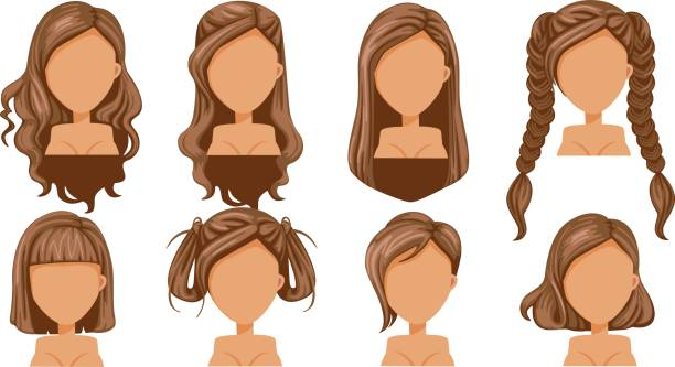 Hair Beautiful  hairstyle woman  modern fashion for assortment. long hair, short hair, curly hair salon hairstyles and trendy haircut vector icon set isolated on white background. hair stock illustrations