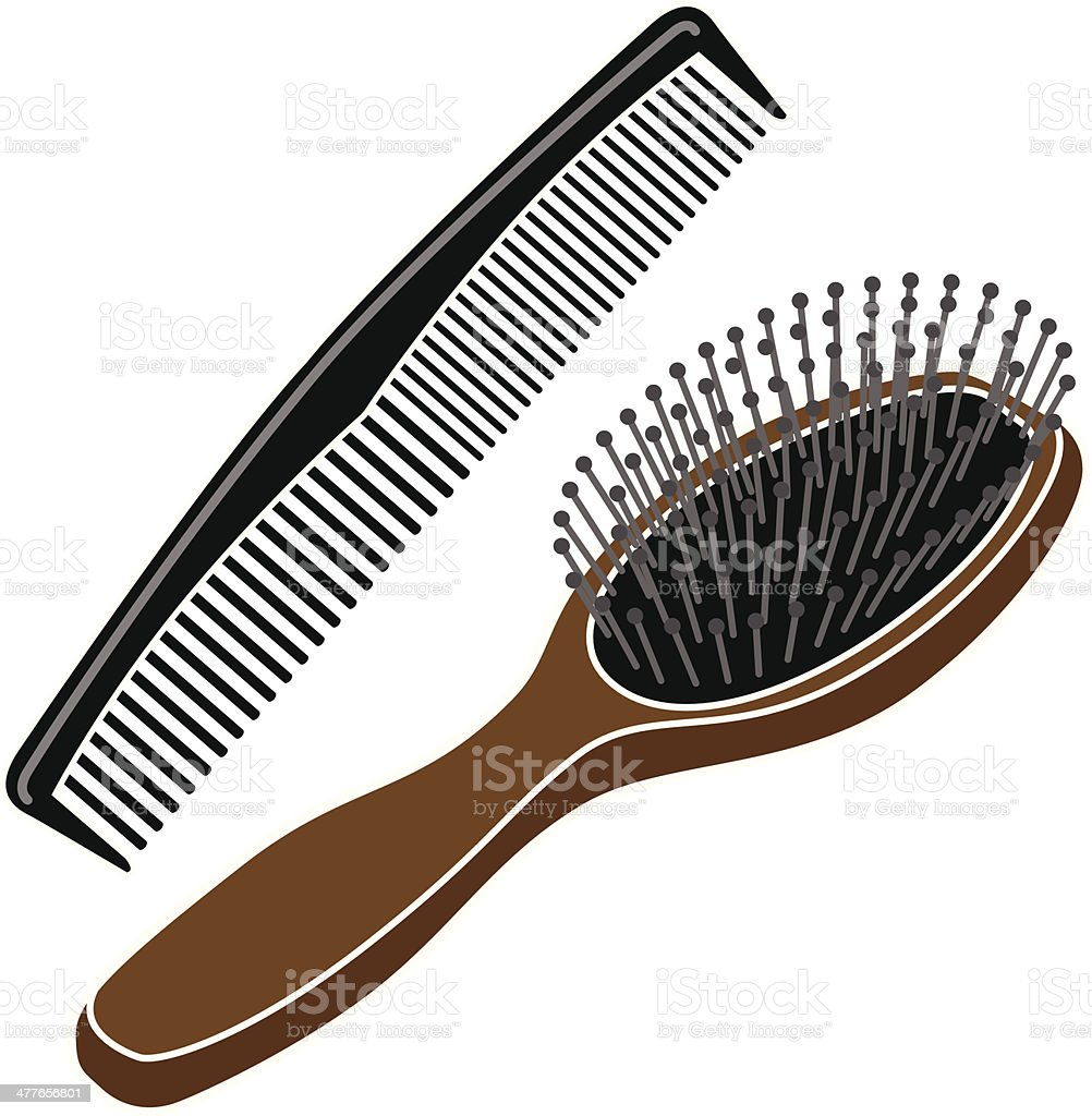 hairbrush and comb in color stock vector art more images of beauty rh istockphoto com hair brush clip art free hair brush clip art free
