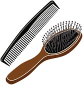 hairbrush and comb in color