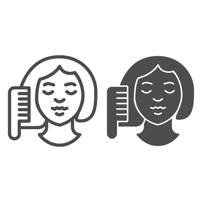 Hairbrush and girl face line and solid icon, makeup routine concept, Women brushing hair with comb sign on white background, girl doing hair care icon in outline style. Vector graphics.