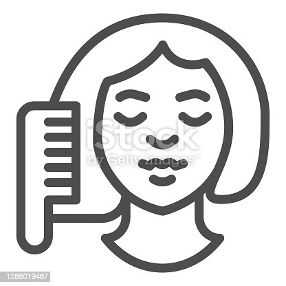 istock Hairbrush and girl face line icon, makeup routine concept, Women brushing hair with comb sign on white background, girl doing hair care icon in outline style. Vector graphics. 1288019487
