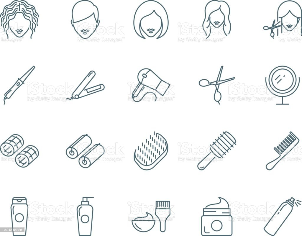 Haircut, hairdressing vector icons set vector art illustration