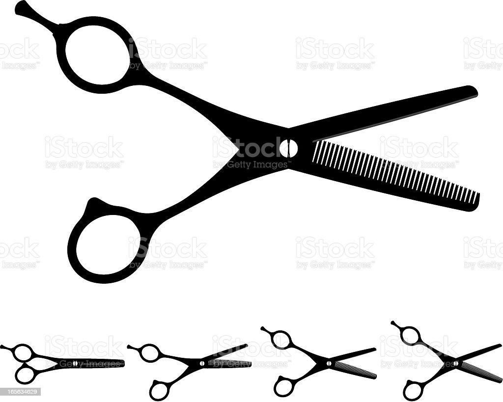haircutting  scissors silhouette vector art illustration