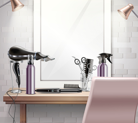 hairdress tools composition realistic
