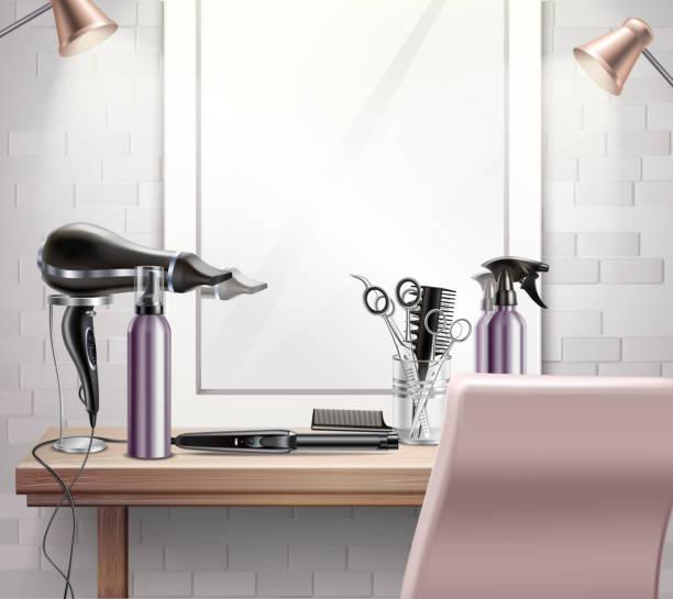 美容ツールの構図現実的 - 美容室 3d点のイラスト素材/クリップアート素材/マンガ素材/アイコン素材