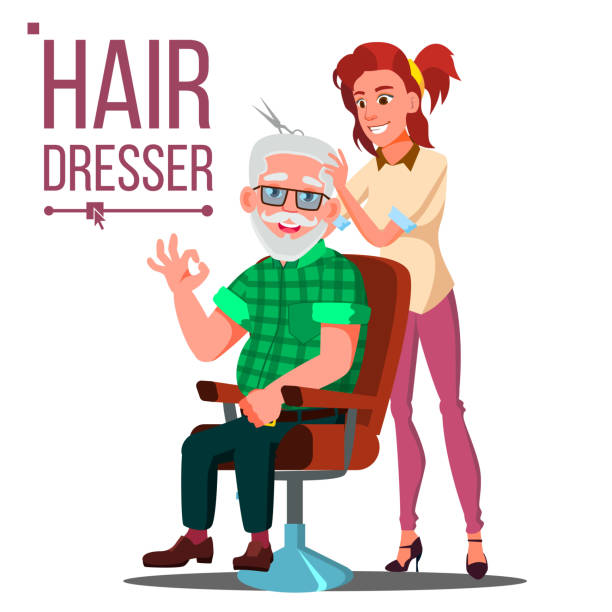 hairdresser and old man vector. client sitting on the chair. modeling. isolated flat cartoon illustration - old man long beard silhouettes stock illustrations, clip art, cartoons, & icons