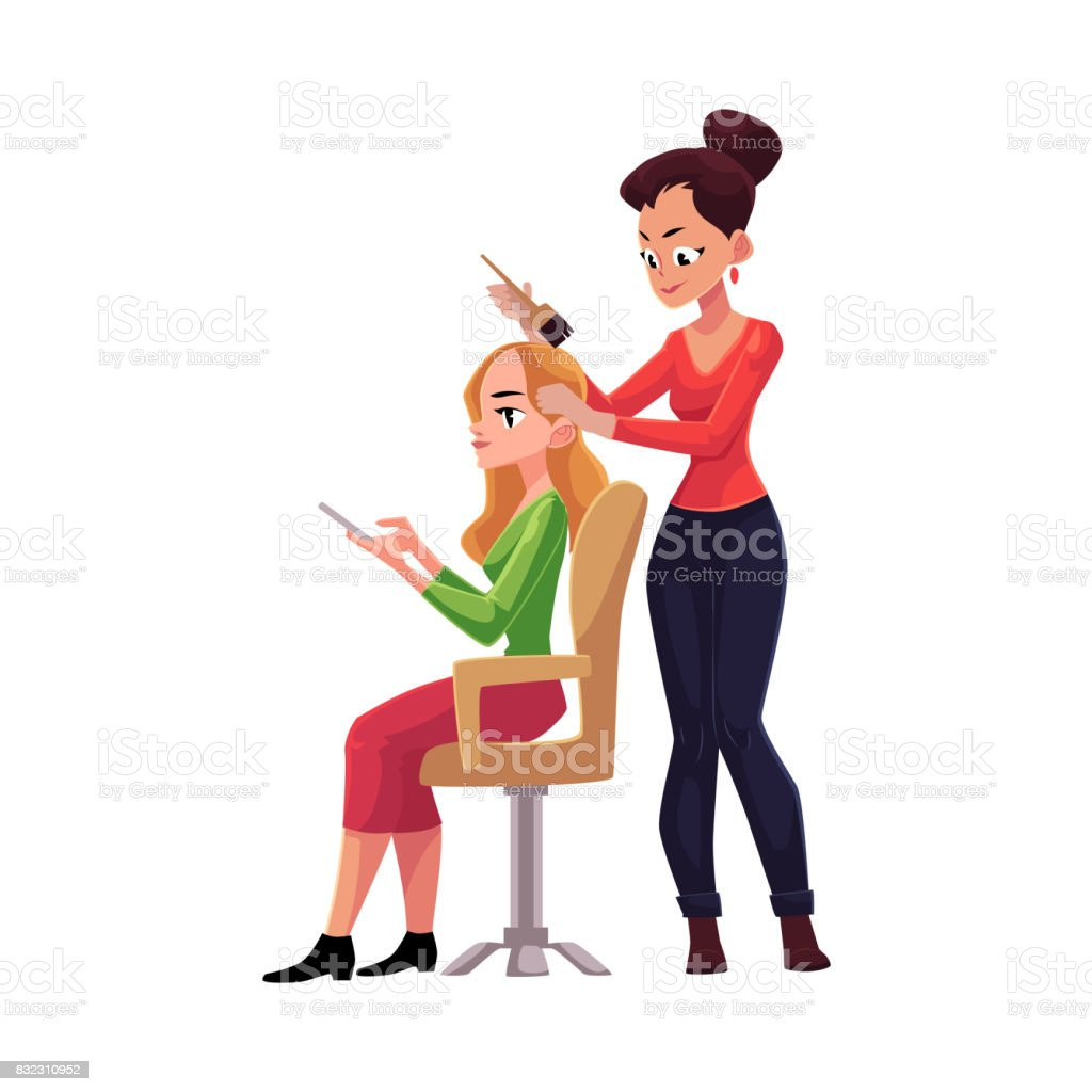 Hairdresser dying long hair of blond woman who uses smartphone vector art illustration