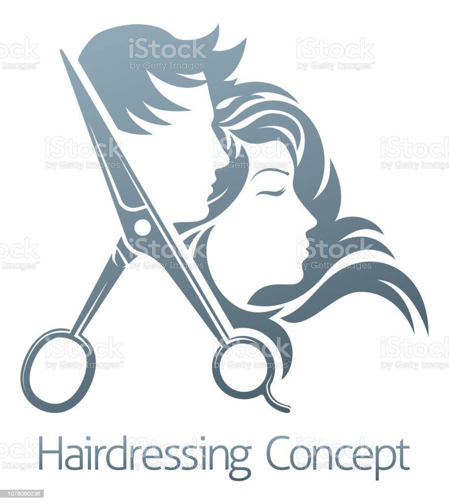 Hairdresser Hair Salon Scissors Man Woman Concept vector art illustration