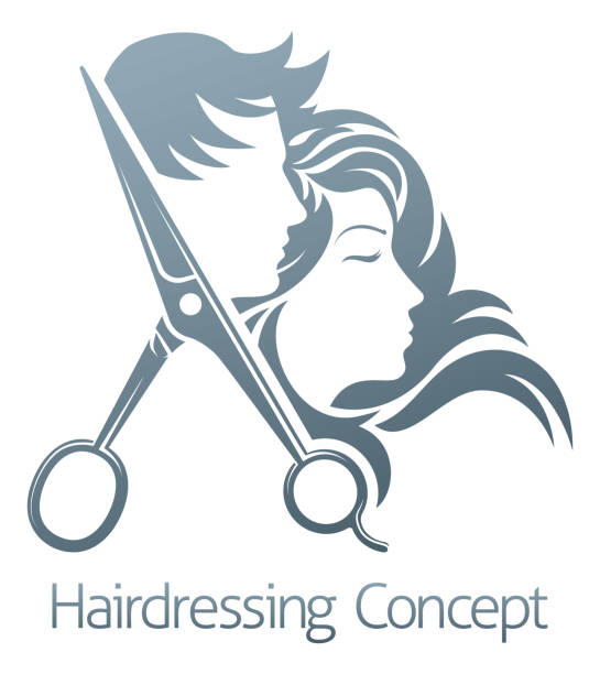 hairdresser hair salon scissors man woman concept - hairdresser stock illustrations