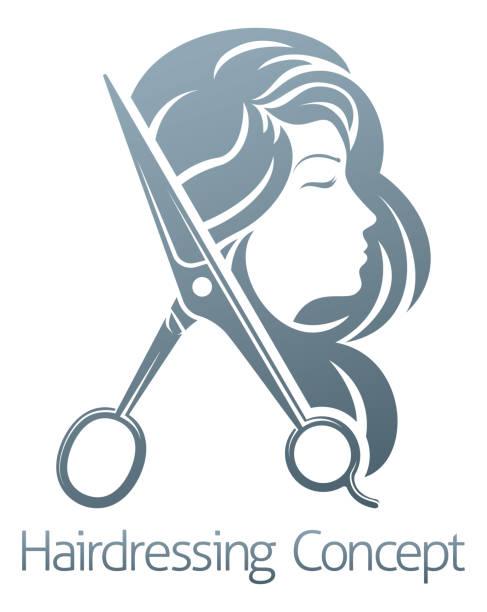 hairdresser hair salon scissors woman concept - salon urody stock illustrations