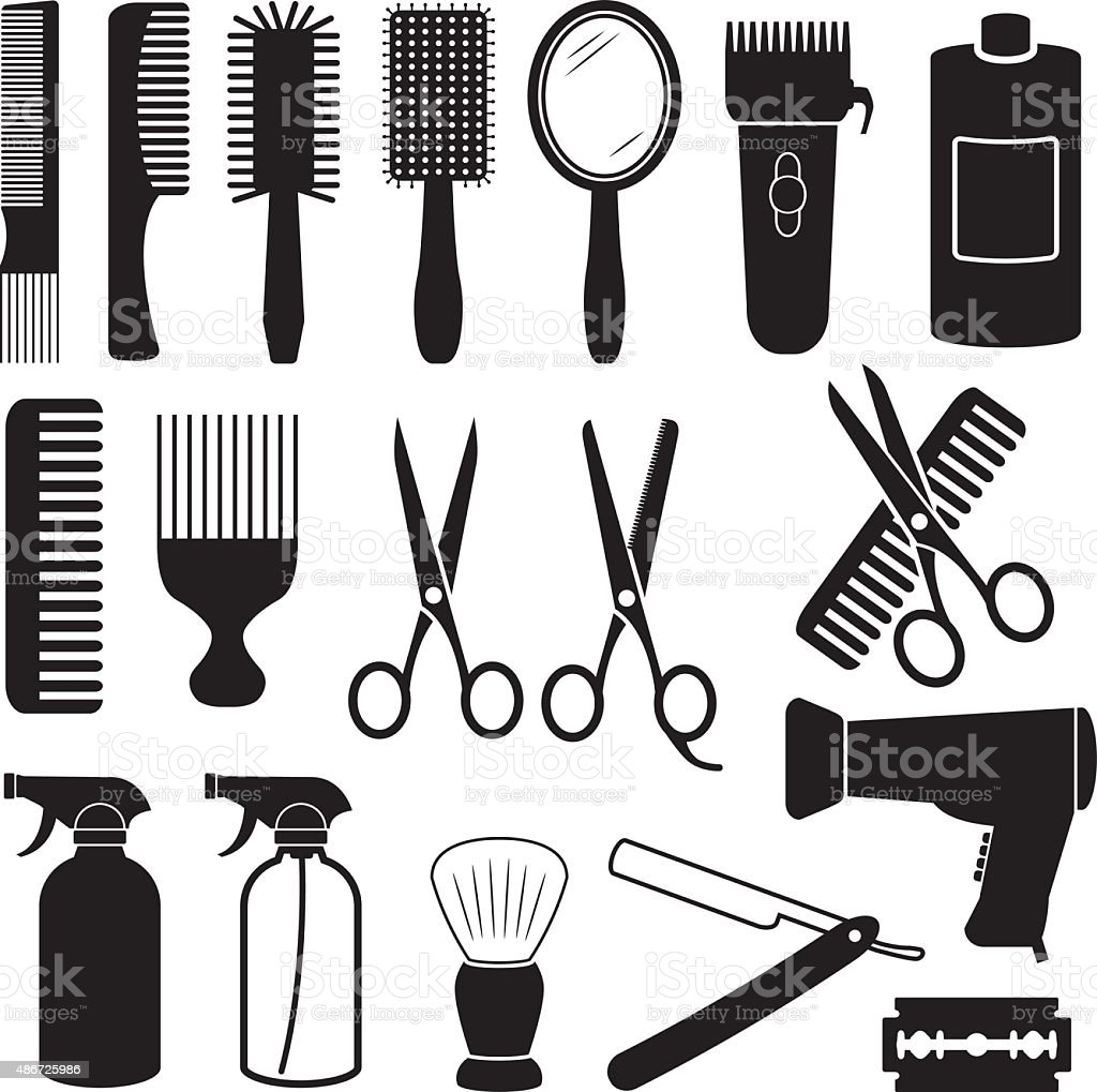 Hairdresser Icons vector art illustration