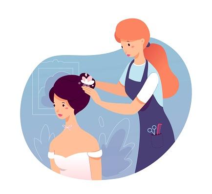 Hairdresser making wedding hairstyle for bride