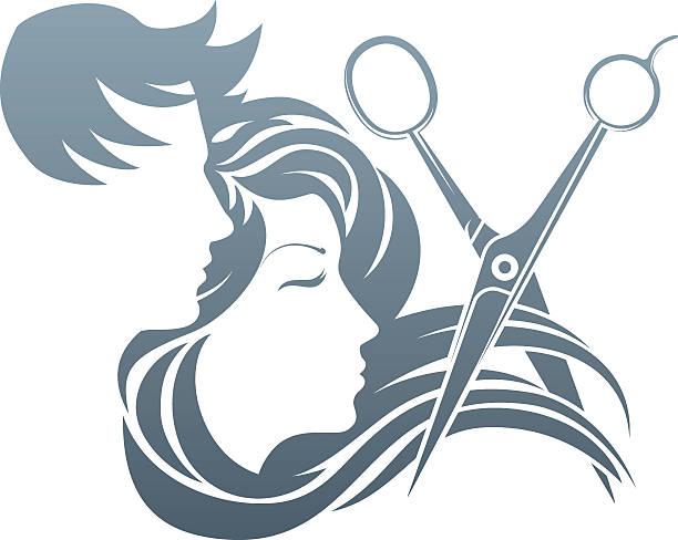 ilustrações, clipart, desenhos animados e ícones de cabeleireiro homem e mulher tesoura conceito - salão de beleza