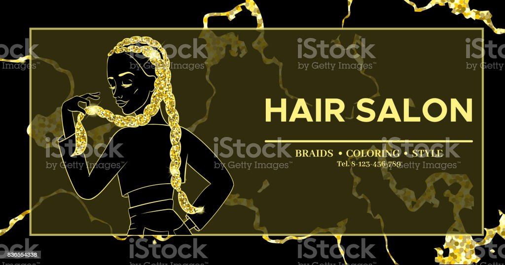 Hairdresser Or Hair Salon Banner Beauty Studio Poster Girl With Braided Hairstyle African Or Boxer Braids Trendy Hairstyle Design Template For Flyer Marble Gold Background Stock Illustration Download Image Now Istock