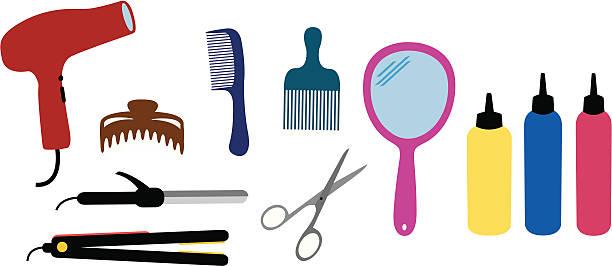 stockillustraties, clipart, cartoons en iconen met hairdresser set - handspiegel