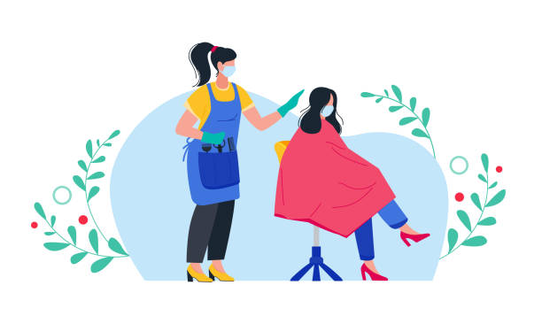 ilustrações de stock, clip art, desenhos animados e ícones de hairdresser with customer in protective mask and gloves. opening after quarantine. compliance with sanitary standards in a beauty salon. - covid hair
