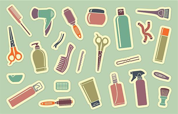 friseur zubehör auf aufklebern. - haarsprays stock-grafiken, -clipart, -cartoons und -symbole