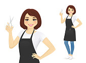 Professional woman hairdresser in apron with scissors in hand vector illustration isolated