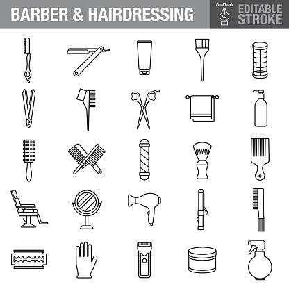Hairdressing Editable Stroke Icon Set