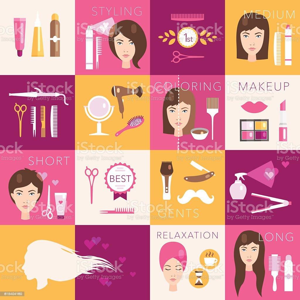 Hairdressing flat symbols vector set - ilustración de arte vectorial
