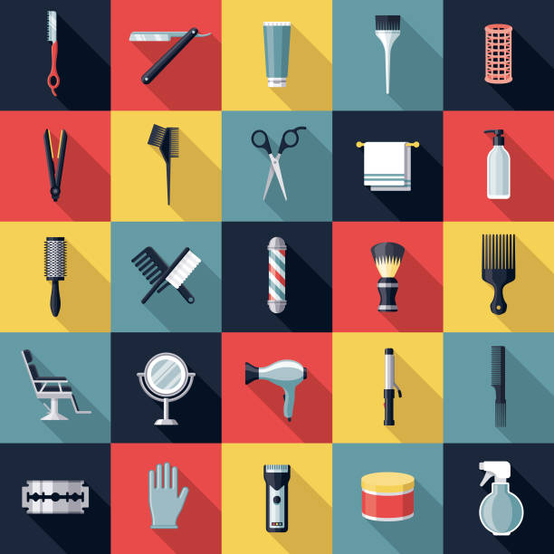 hairdressing icon set - hairdresser stock illustrations