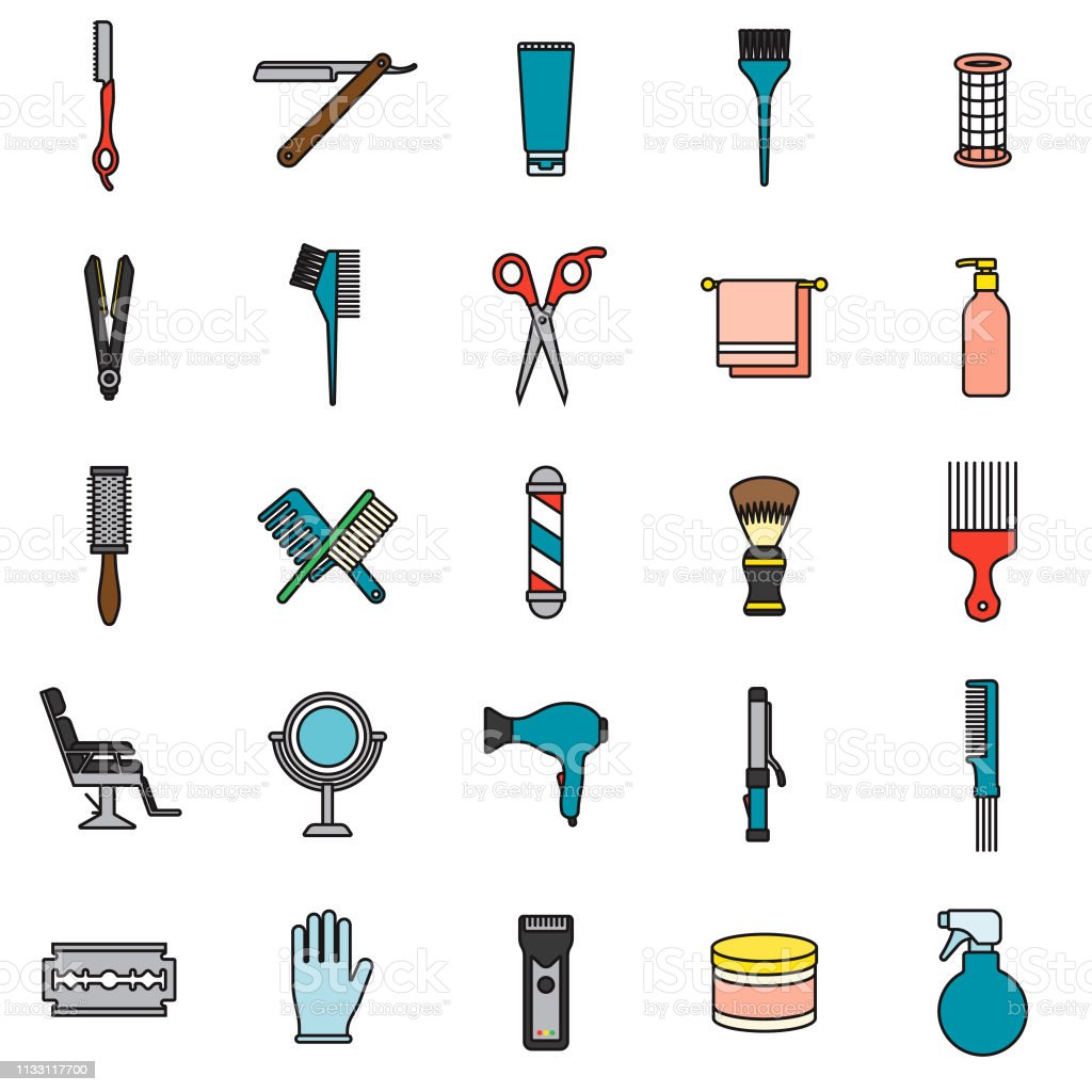 Hairdressing Icon Set vector art illustration
