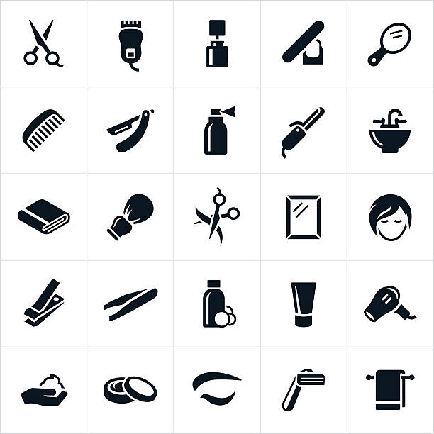 hairdressing icons - beauty salon stock illustrations, clip art, cartoons, & icons