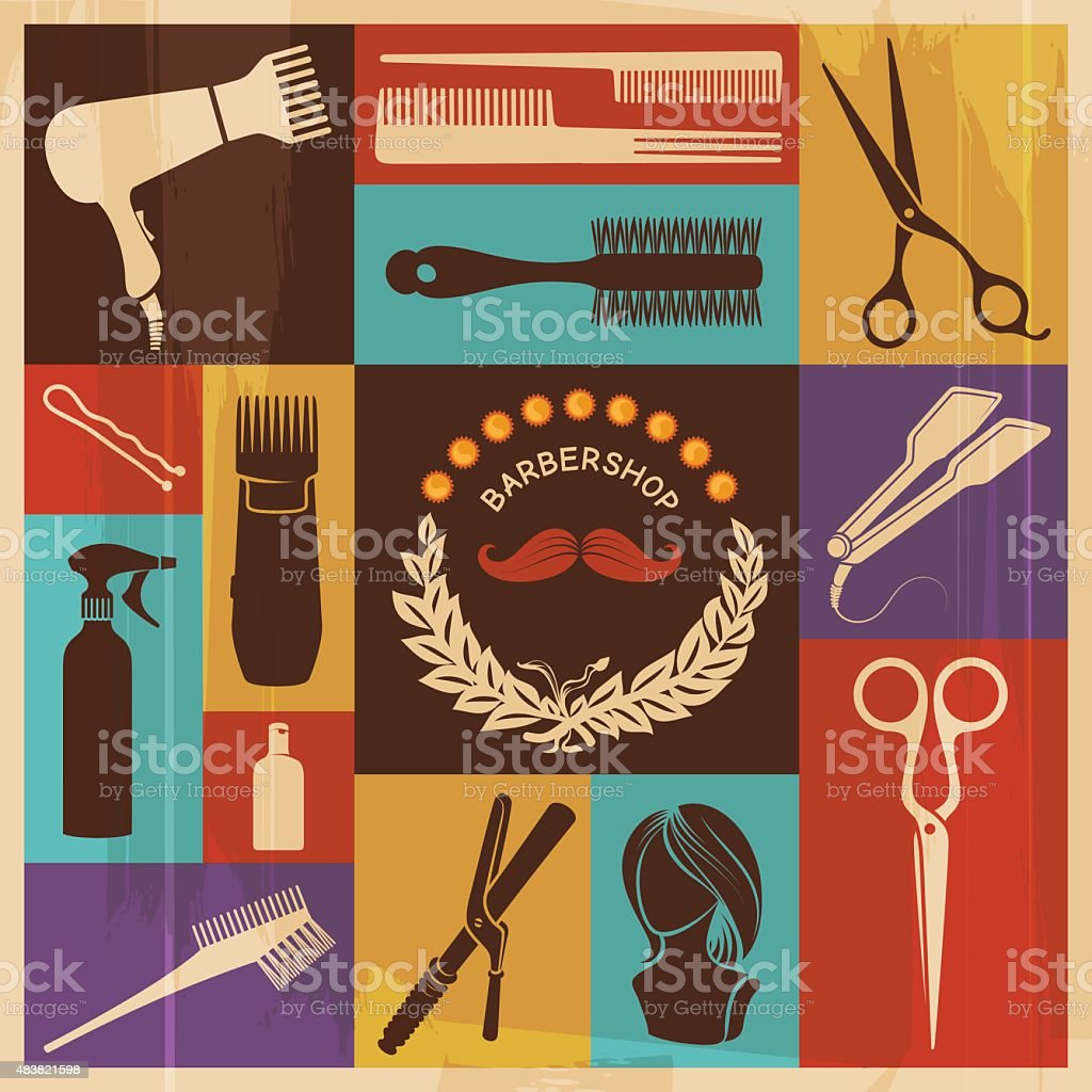 Hairdressing Retro Icons vector art illustration