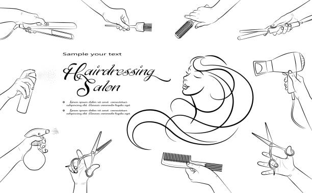 hairdressing salon. barbershop and beauty hair. horizontal banner - hairdresser stock illustrations