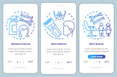 Hairdressing salon services blue onboarding mobile app page screen vector template. Women and men haircut. Walkthrough website steps with linear illustrations. UX, UI, GUI smartphone interface concept