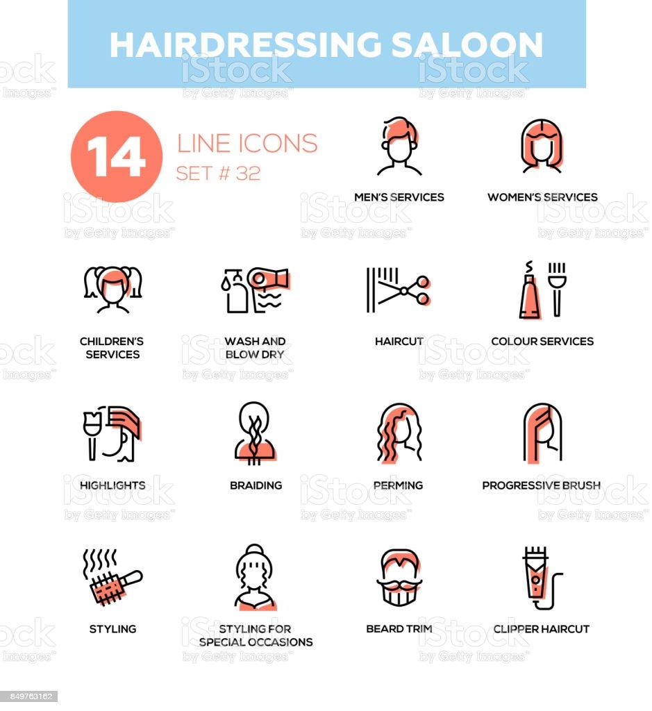 Hairdressing Saloon - modern vector single line icons set vector art illustration