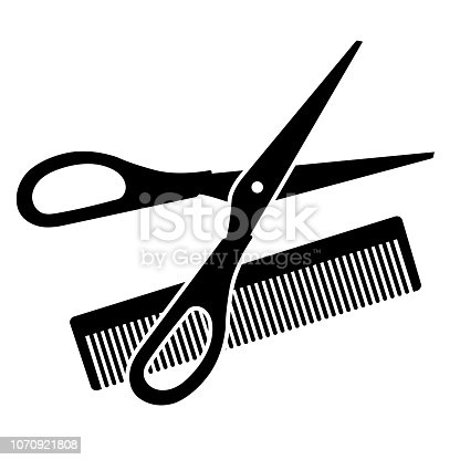 Hairdressing scissors and comb