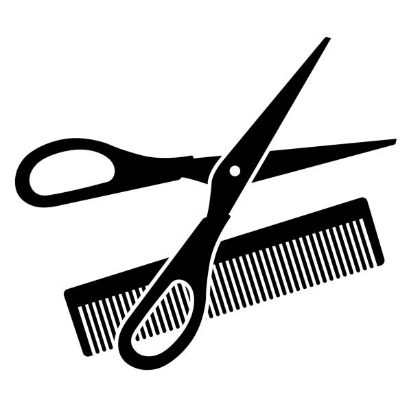 hairdressing scissors and comb - hairdresser stock illustrations