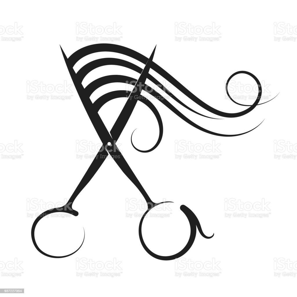 Tijeras de la peluquería y el cabello rizo - ilustración de arte vectorial