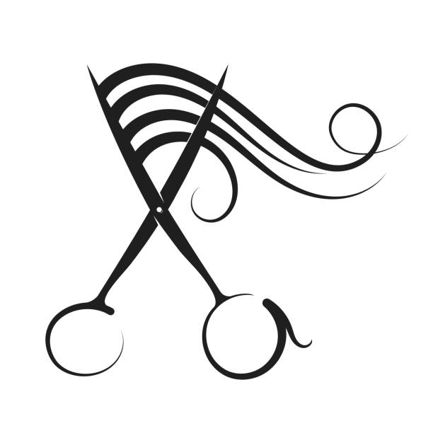 hairdressing scissors and curl hair - hairdresser stock illustrations