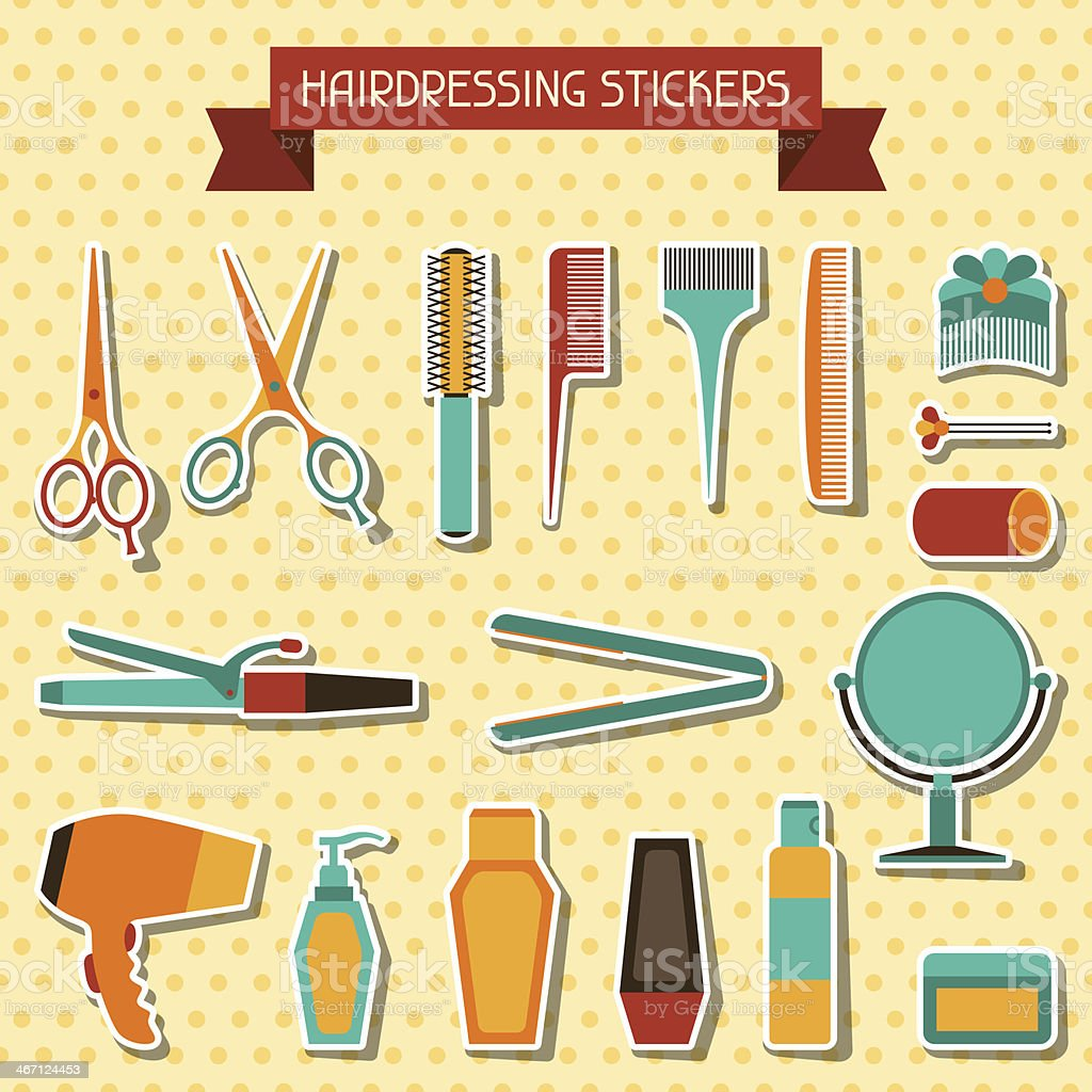 Hairdressing stickers. royalty-free stock vector art