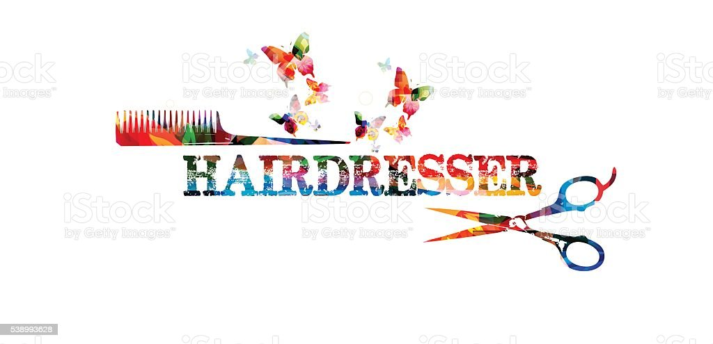 Hairdressing tools background with colorful comb and scissors vector art illustration