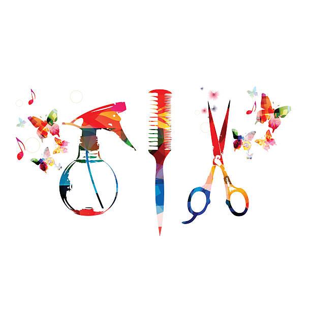 ilustrações, clipart, desenhos animados e ícones de ferramentas de cabeleireiro colorida fundo com pente de tesouras e borrifador de - salão de beleza