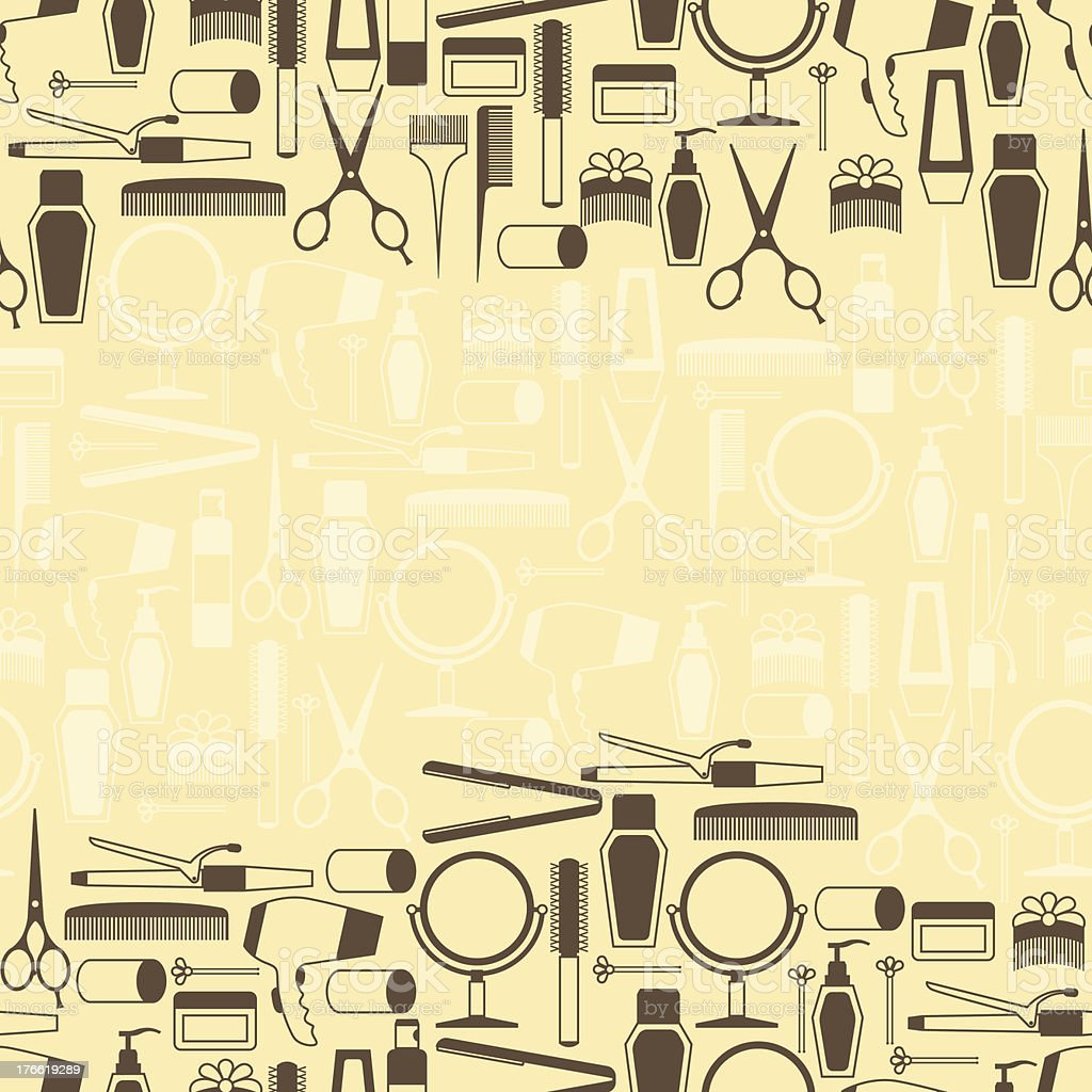 Hairdressing tools seamless pattern in retro style. royalty-free hairdressing tools seamless pattern in retro style stock vector art & more images of backdrop