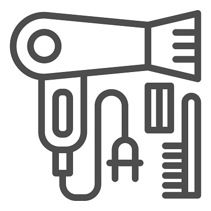 Hairdryer and comb line icon, beauty salon concept, hairdresser tools sign on white background, hair brush and electric hairdryer icon in outline style, mobile and web. Vector graphics.
