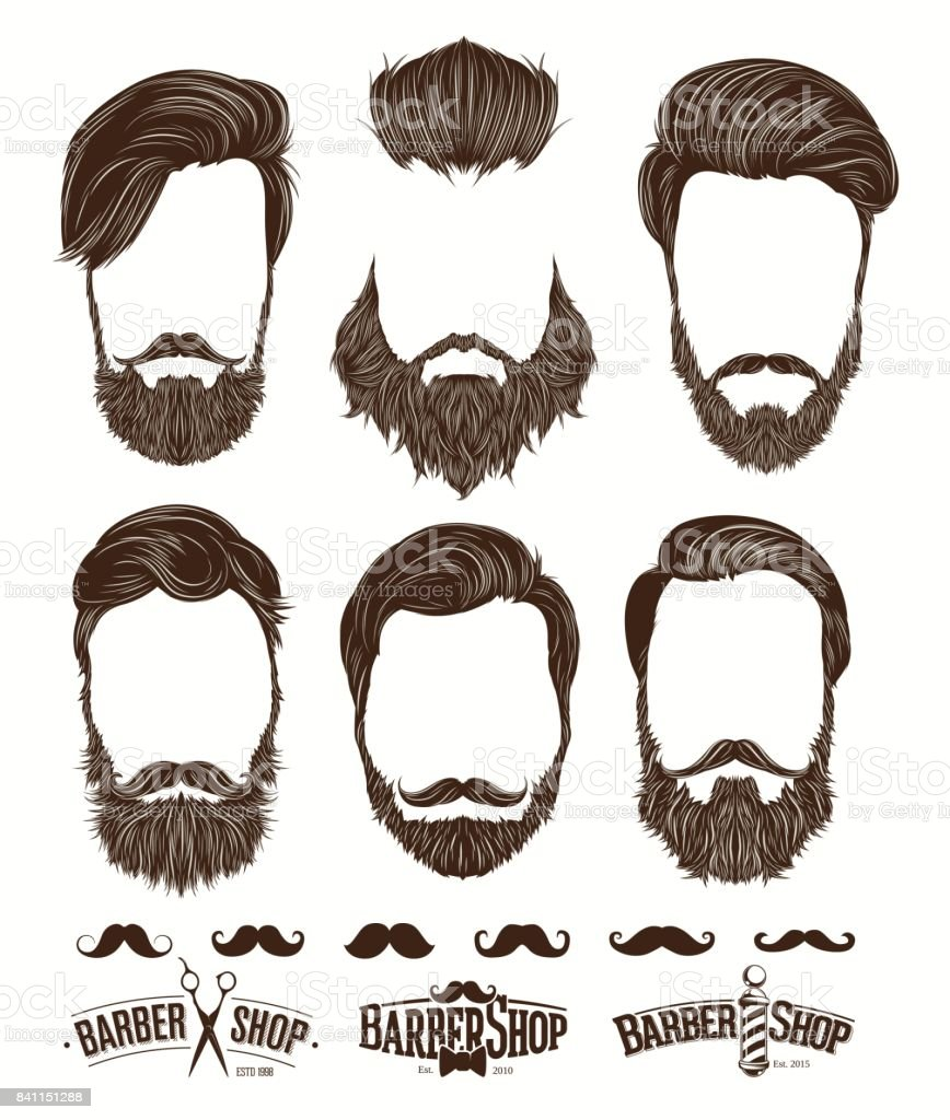Barba y peinado moda hipster, emblemas de barbería establece ilustraciones vectoriales - ilustración de arte vectorial