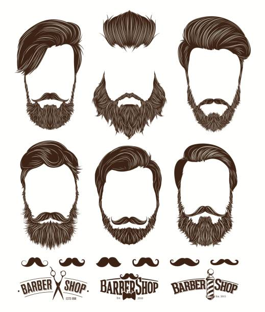 ilustrações de stock, clip art, desenhos animados e ícones de hairstyle and beard hipster fashion, barbershop emblems set vector illustrations - barba