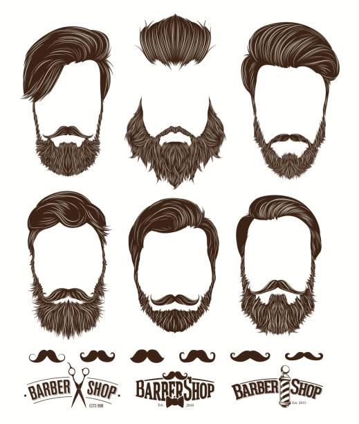 Hairstyle and beard hipster fashion, Barbershop Emblems set vector illustrations vector art illustration