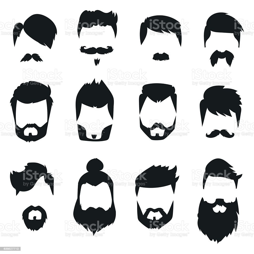 Hairstyle beard and hair face cut mask flat cartoon vector. - ilustración de arte vectorial