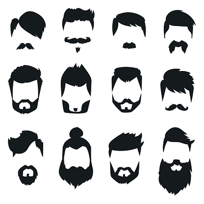 Hairstyle Beard And Hair Face Cut Mask Flat Cartoon Vector