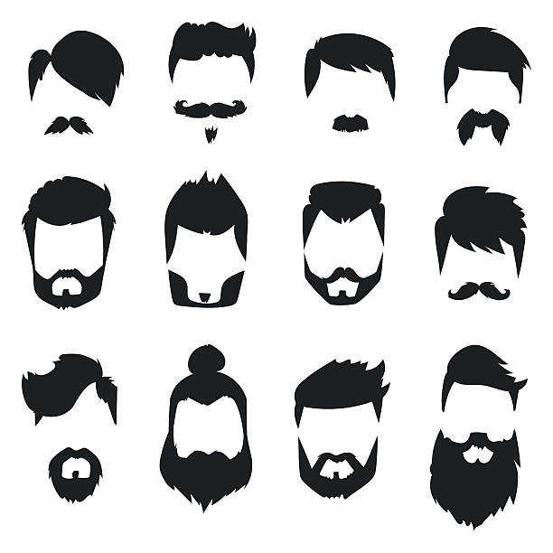 Hairstyle beard and hair face cut mask flat cartoon vector. vector art illustration