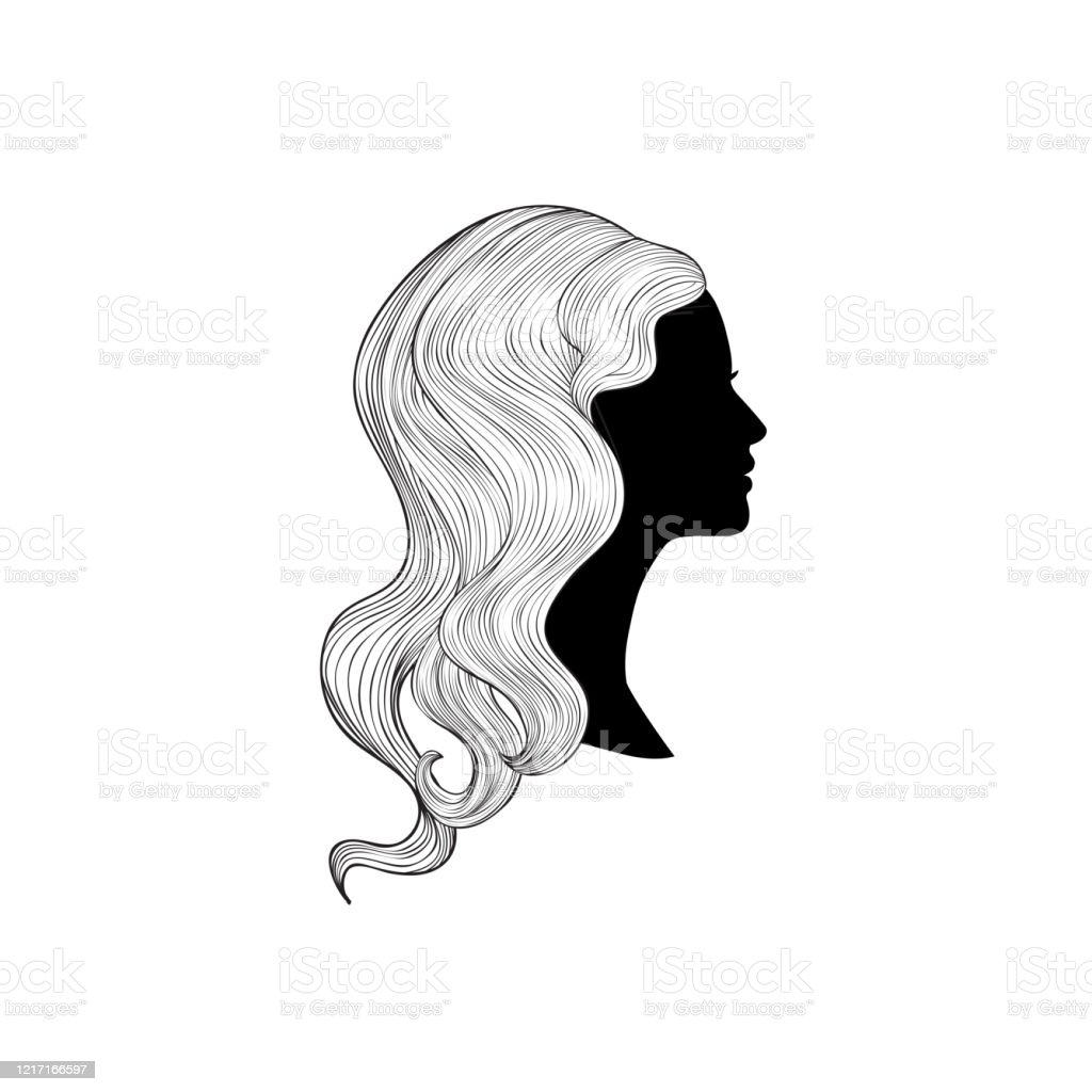 Hairstyle Beauty Salon Banner Woman With Beautiful Hair Girl Profile Silhouette With Long Hair Over White Background Stock Illustration Download Image Now Istock