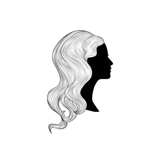 Hairstyle. beauty salon banner. Woman with beautiful hair. Girl profile silhouette with long hair over white background. vector art illustration